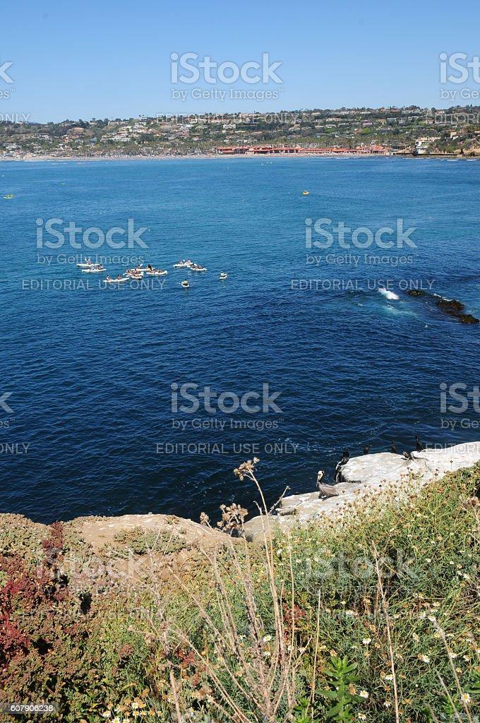 Kayaking in La Jolla, Near San Diego, California stock photo