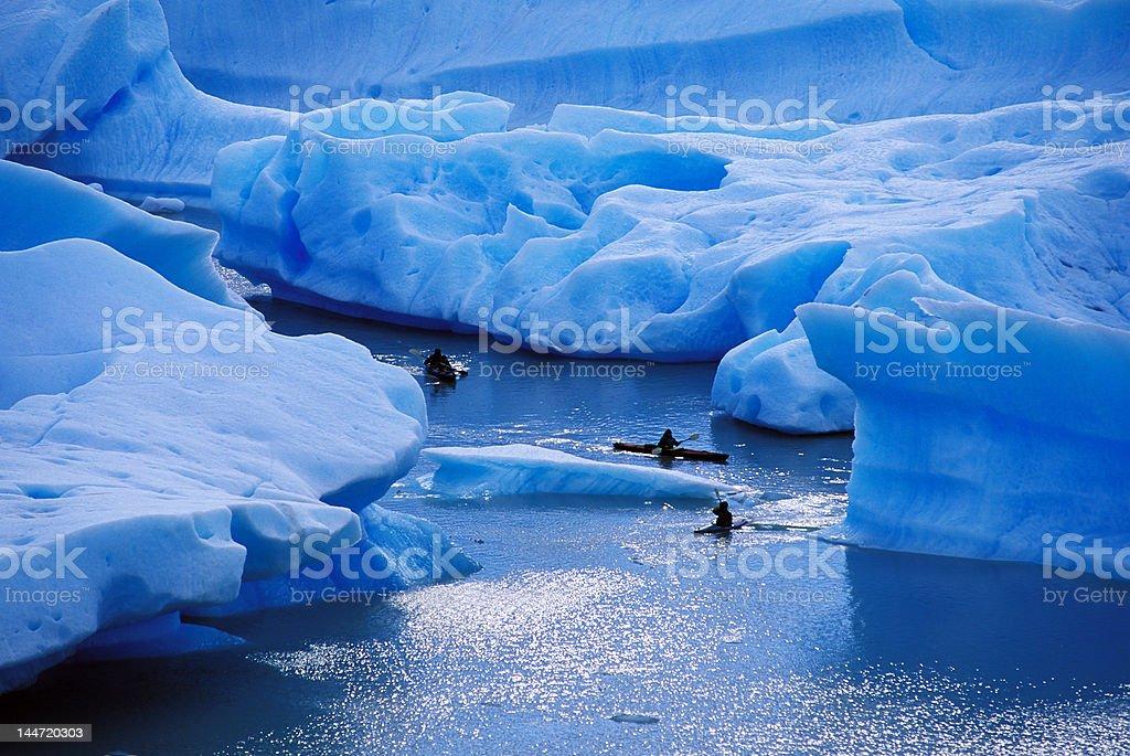 kayaking in Lago Gray royalty-free stock photo