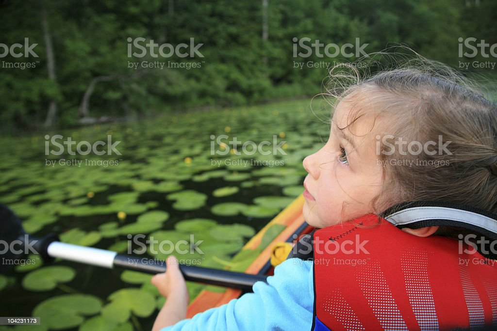 Kayaking In Lily Pads stock photo