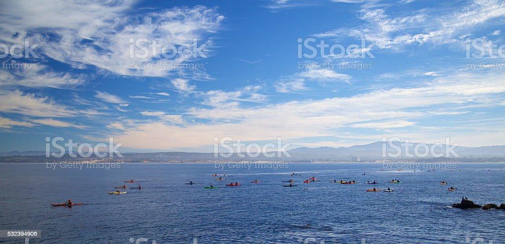 Kayaking in monterey bay California stock photo
