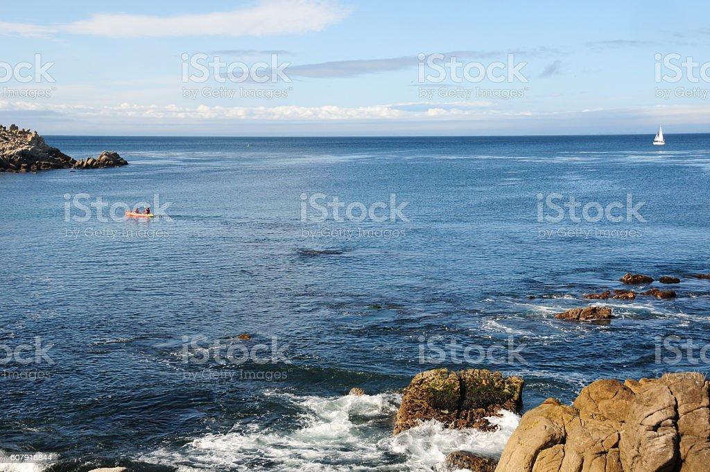 Kayaking in Monterey Bay, near Lover's Point stock photo