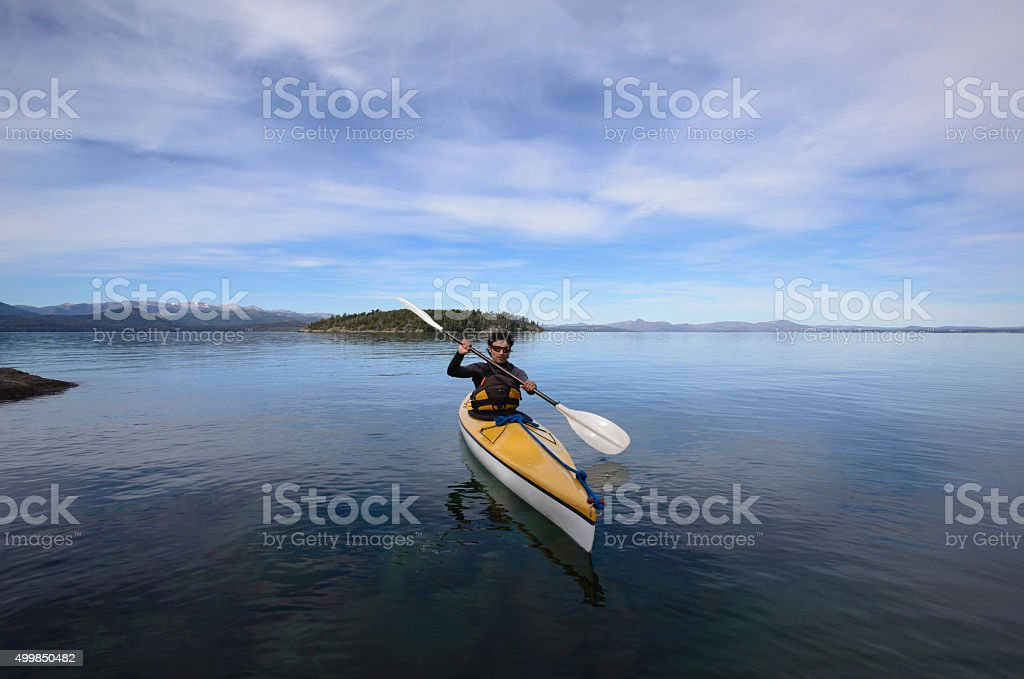 Kayaking in Patagonia Lakes stock photo