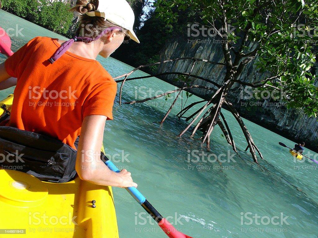 kayaking in Thailand stock photo