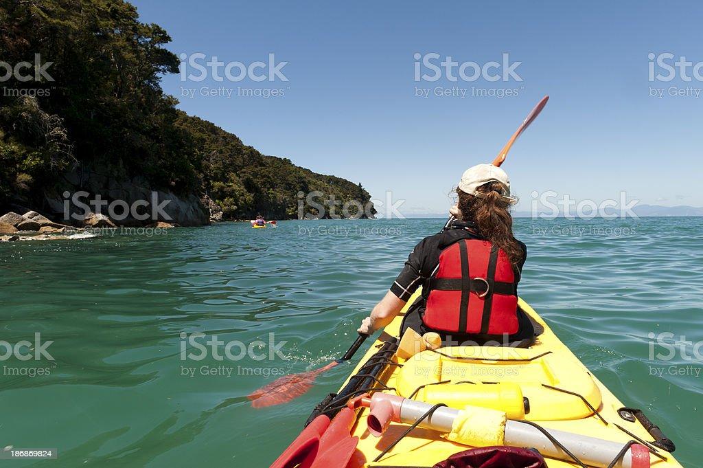Kayaking in the Abel Tasman royalty-free stock photo