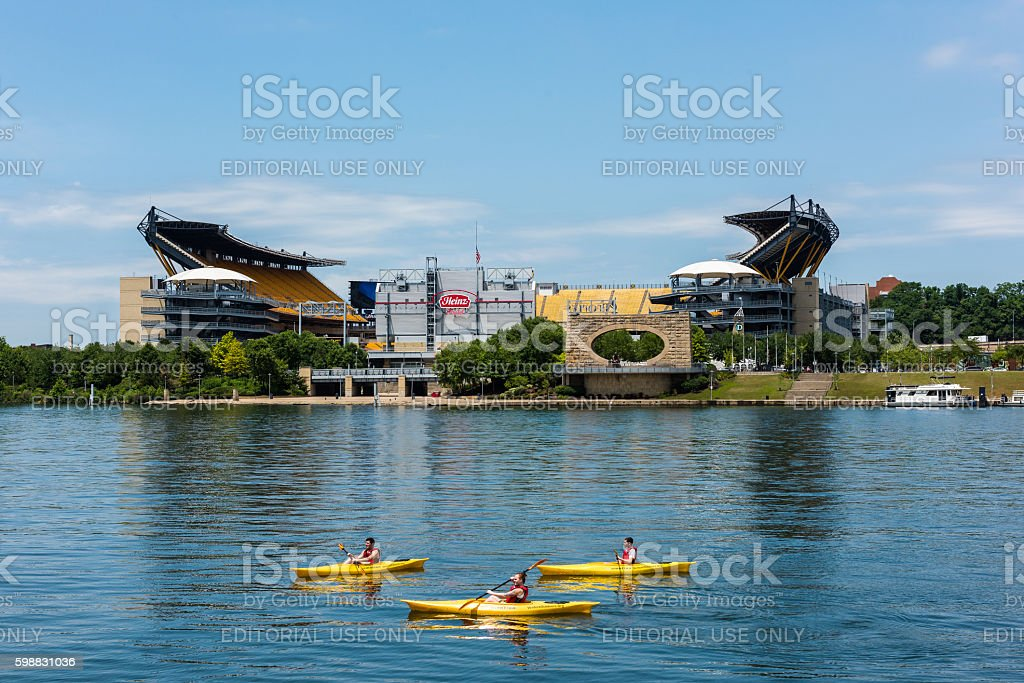 Kayaking in the Allegheny River in front of Heinz Field stock photo