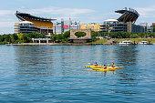 Kayaking in the Allegheny River in front of Heinz Field