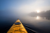 Kayaking in the fog.