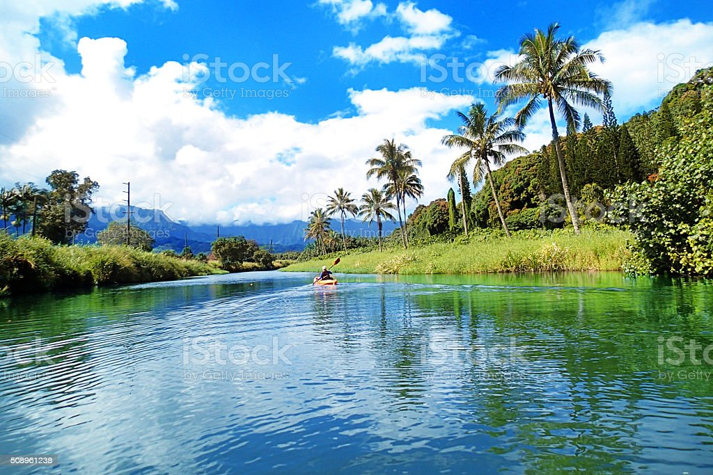 Kayaking in the Hanalei River in Hanalei Bay Kauai stock photo