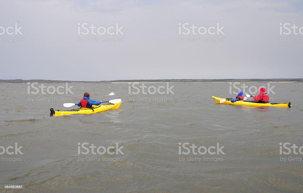 Kayaking in the Hudson Bay, near Churchill Manitoba stock photo