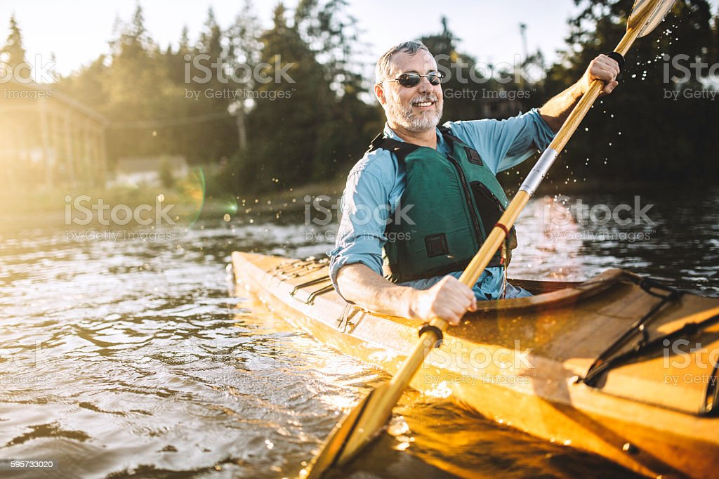 Kayaking In The Pacific Northwest stock photo