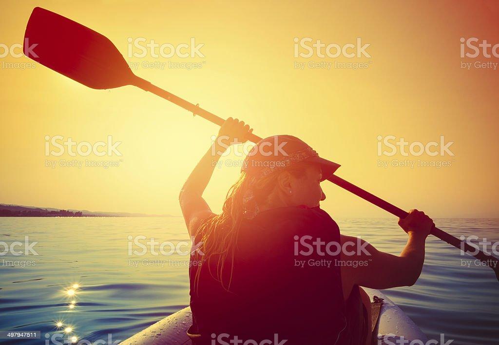 Kayaking in the sun stock photo