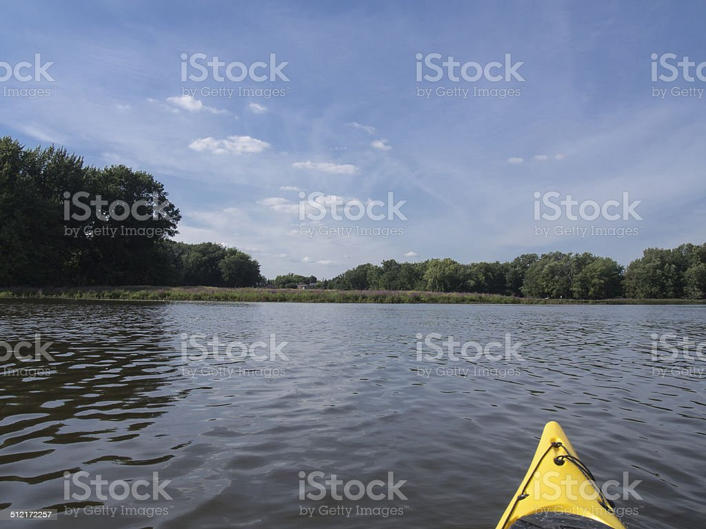Kayaking on a river stock photo