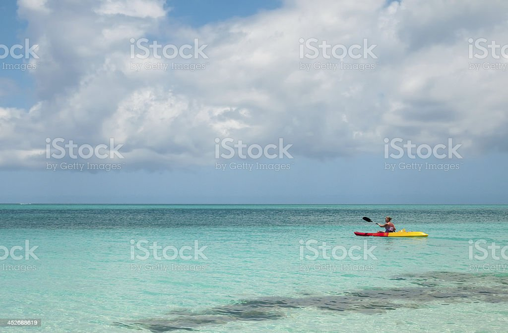 Kayaking on Grace Bay in Turks & Caicos stock photo