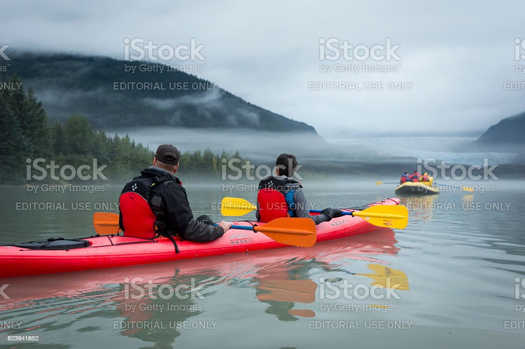 Kayaking on Mendenhall Lake stock photo