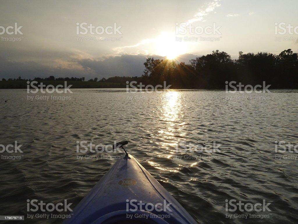 Kayaking on Ooms Pond royalty-free stock photo