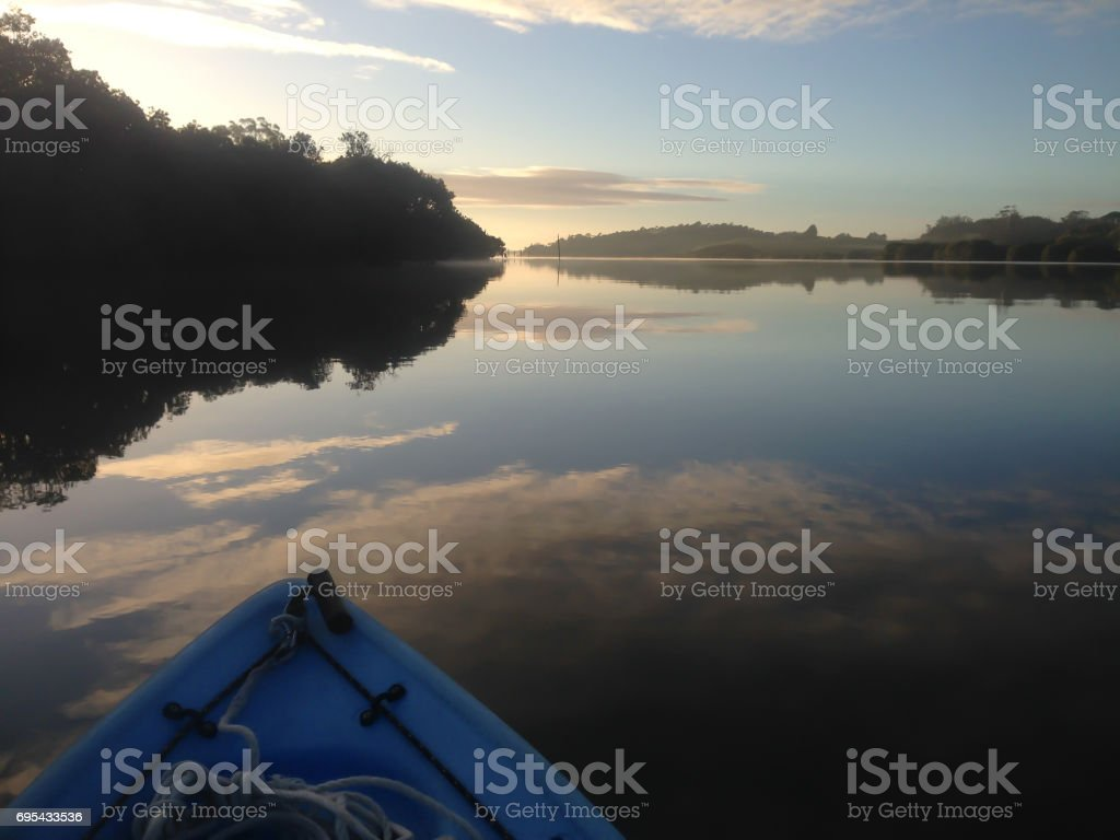 Kayaking on the Kerikeri Inlet, New Zealand, NZ, at dawn stock photo