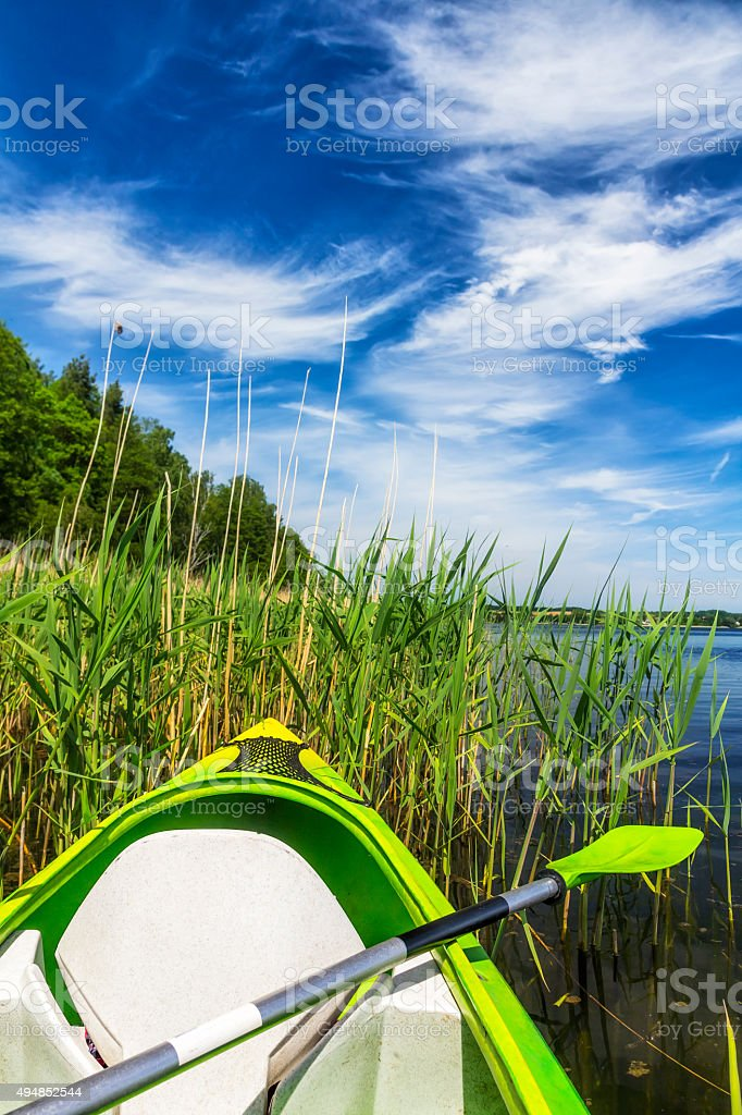 Kayaking on the lake in Masuria, Poland stock photo