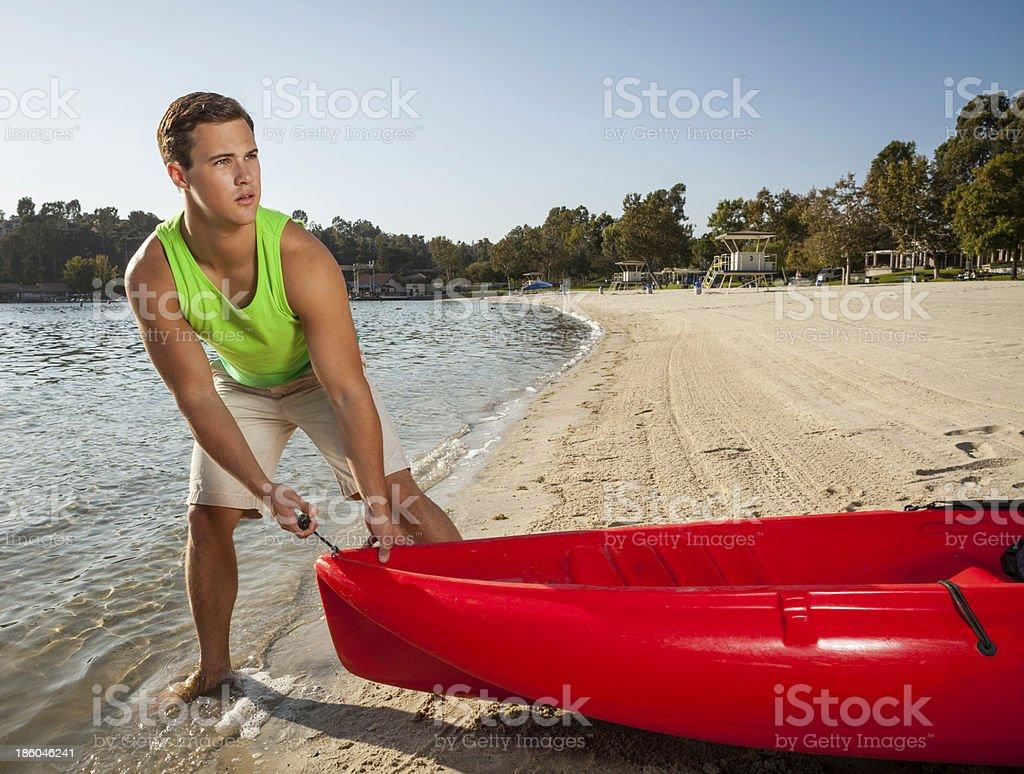 Kayaking on the lake royalty-free stock photo