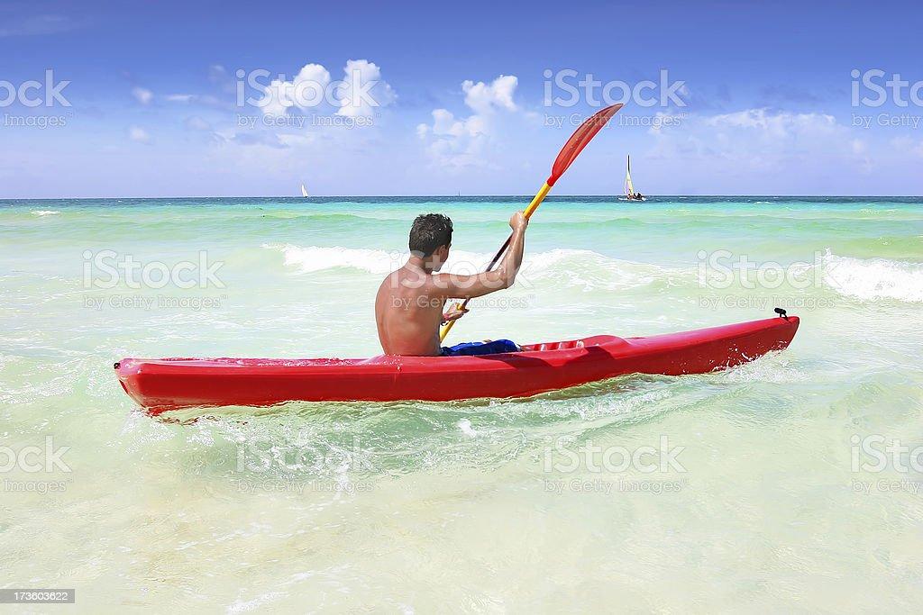 Kayaking on the Ocean stock photo