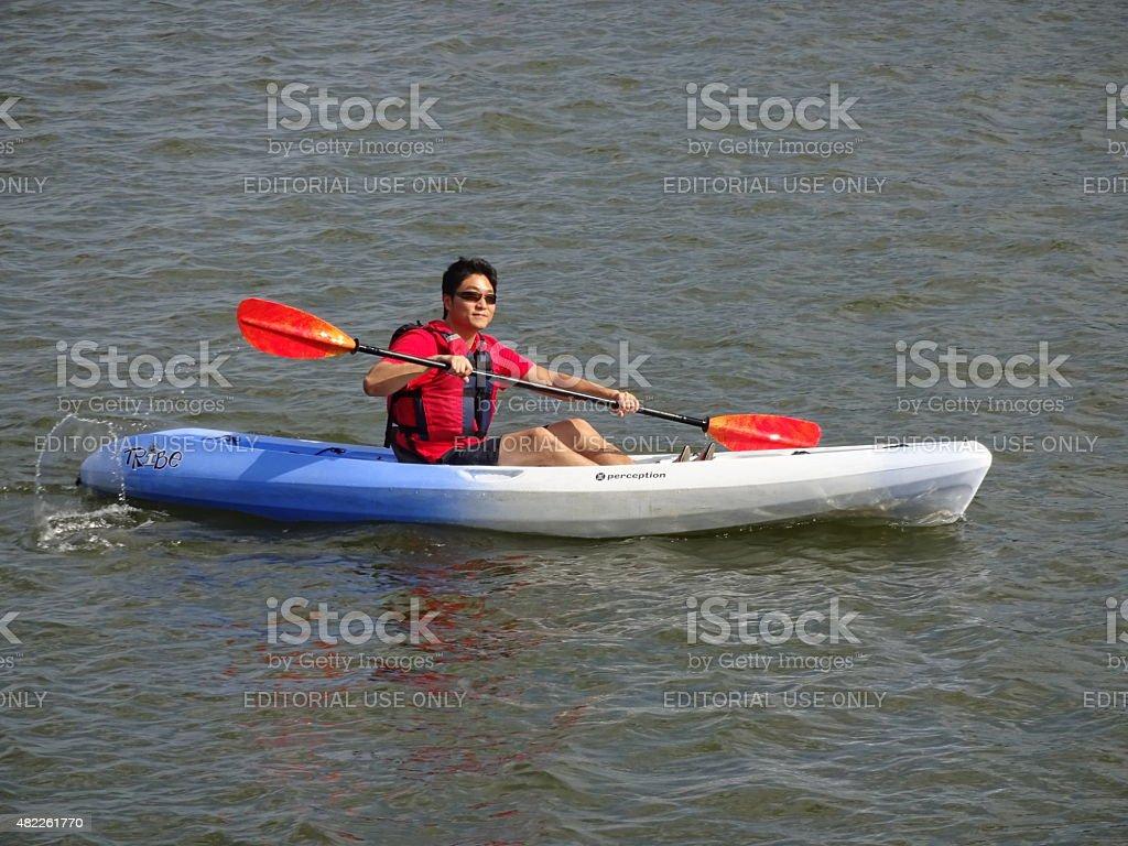 Kayaking on the Potomac River stock photo