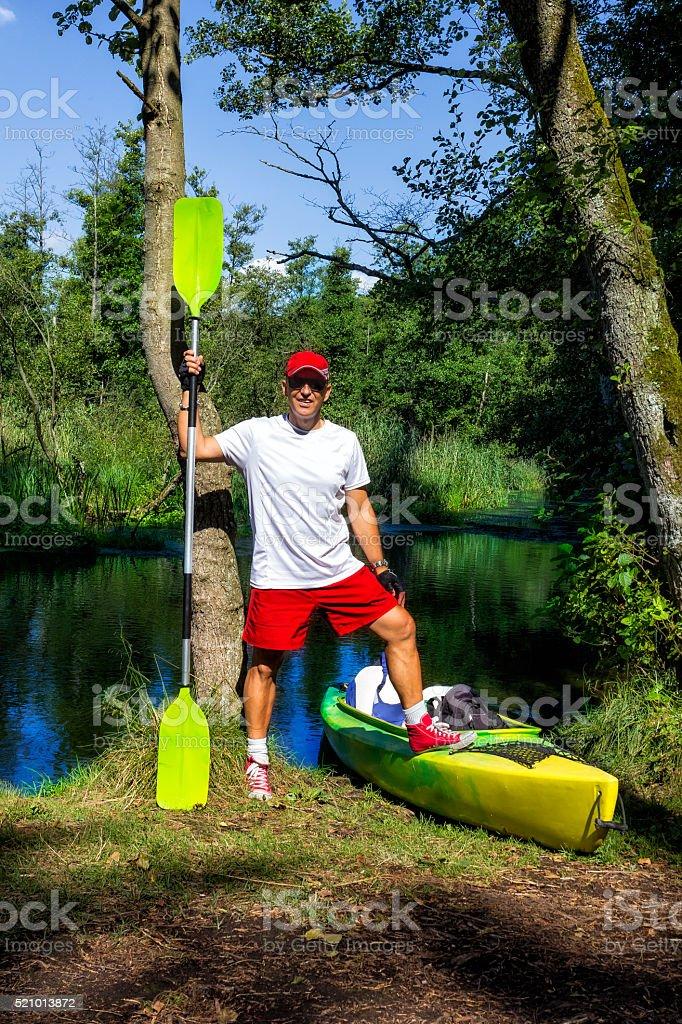 Kayaking on the river Drawa, Poland stock photo