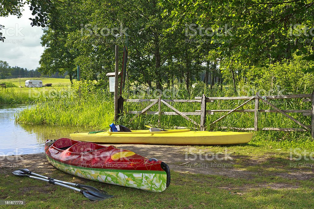 Kayaking on the river Krutynia, Poland royalty-free stock photo