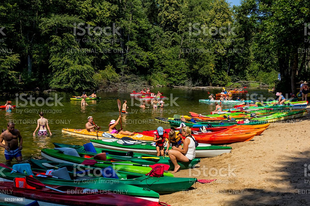 Kayaking on the river Krutynia, Poland stock photo