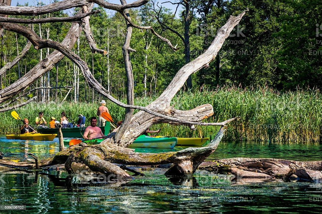 Kayaking on the river Krutynia, Poland stock photo