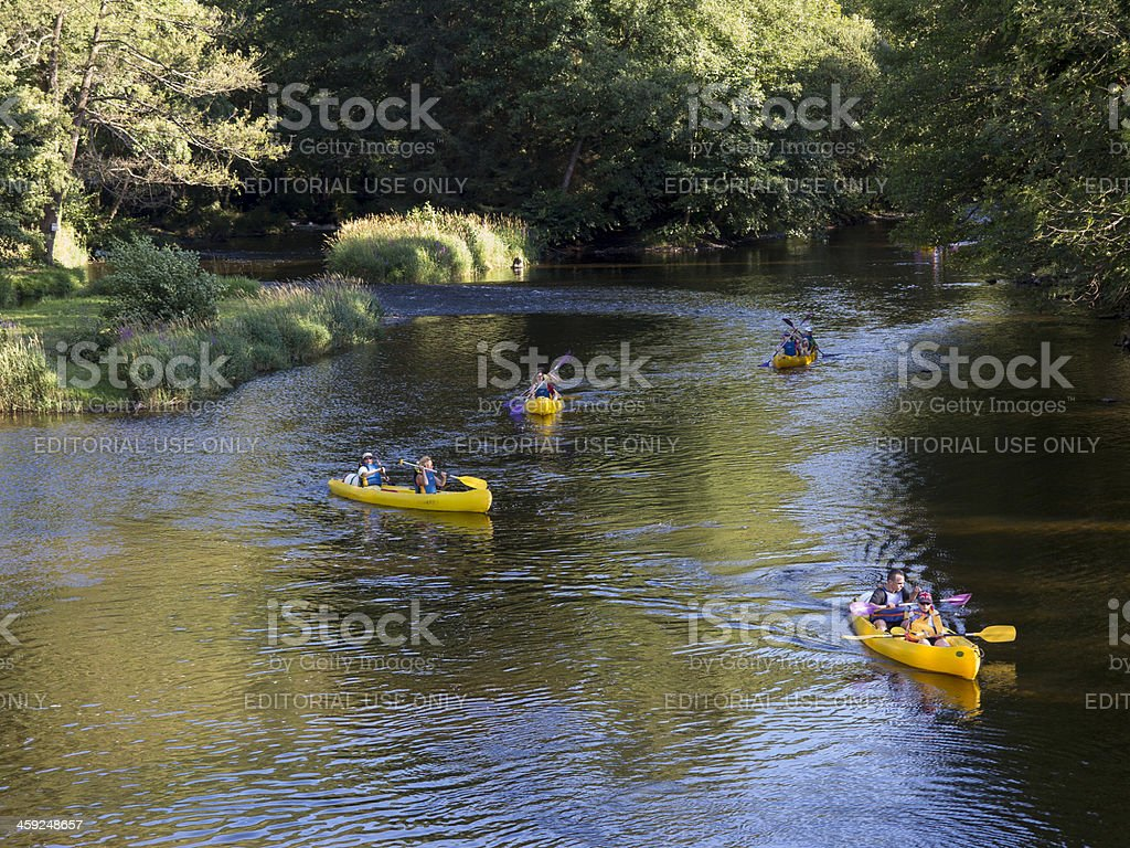 Kayaking on the River Sioule, Auvergne, France stock photo
