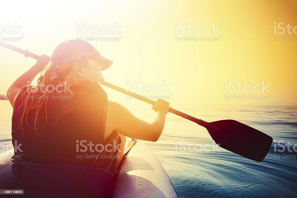 Kayaking on the sea stock photo