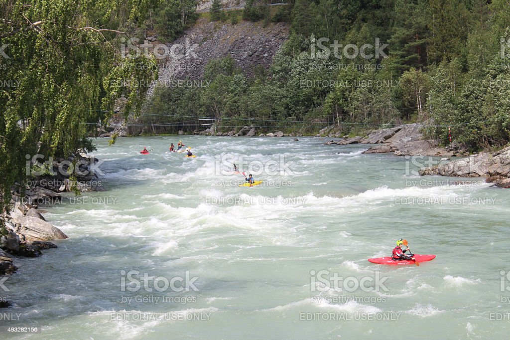 Kayaking on the Sjoa river in Norway. stock photo