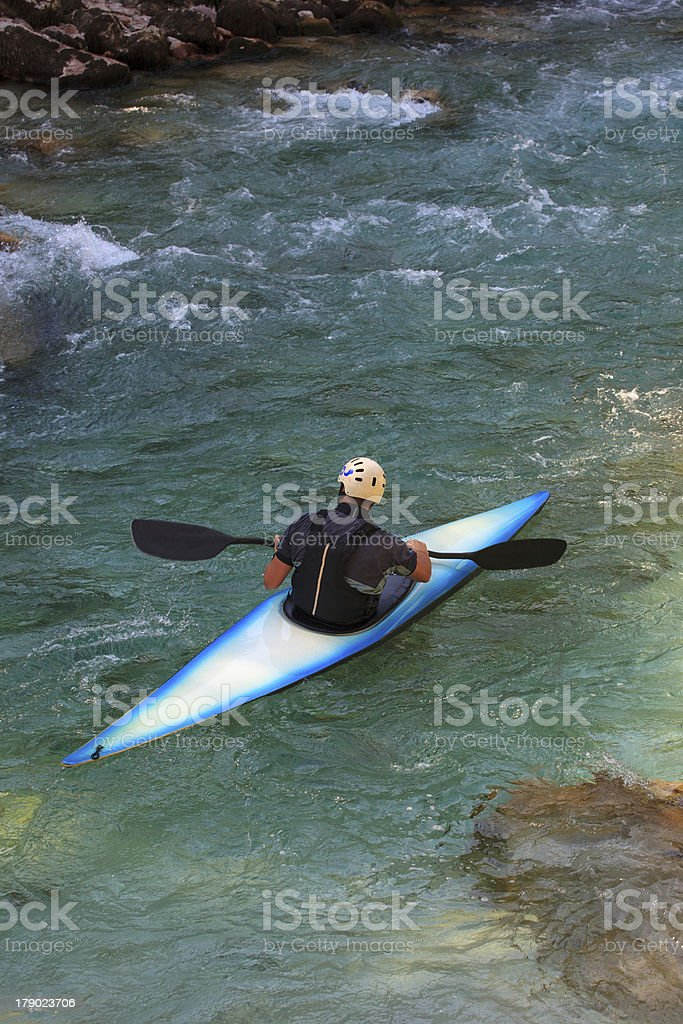 Kayaking on the Soca river, Slovenia royalty-free stock photo