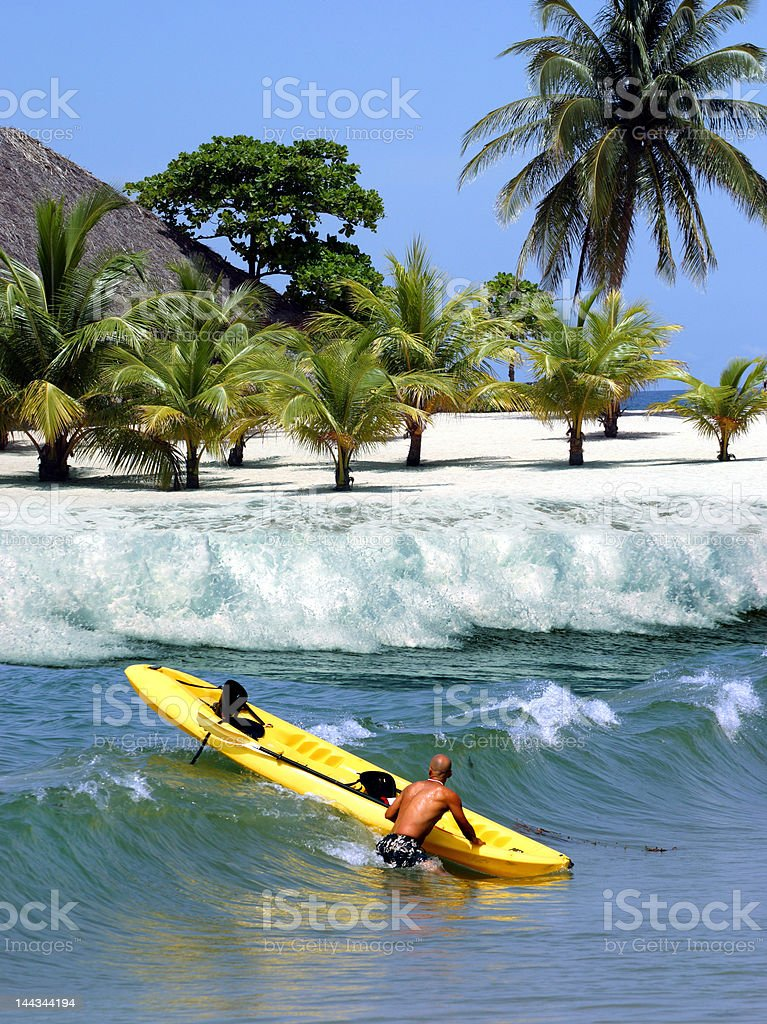 Kayaking on tropical Caribbean island royalty-free stock photo