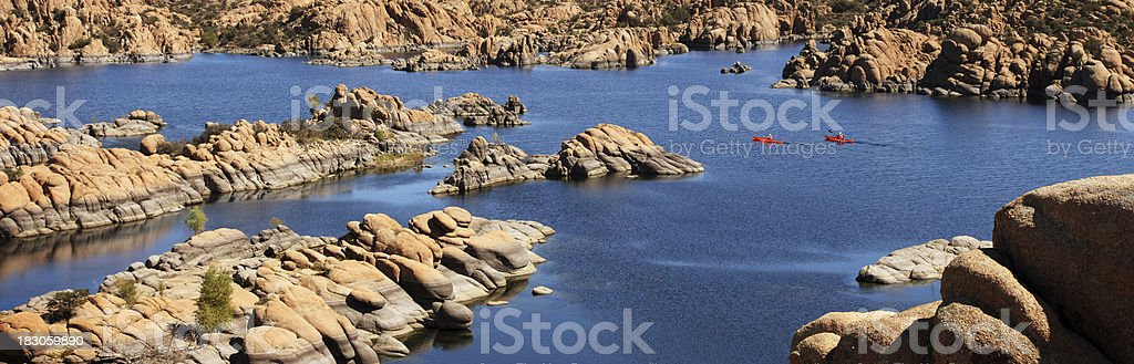 Kayaking on Watson Lake in Prescott Arizona stock photo