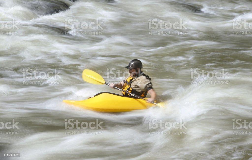 Kayaking on Whitewater royalty-free stock photo