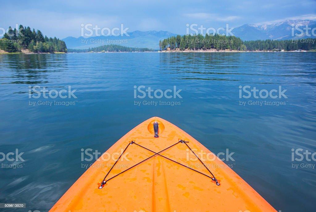 Kayaking Point of view of a Beautiful Mountain Lake stock photo