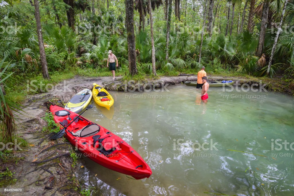 Kayaking Rest Stop on Silver River stock photo