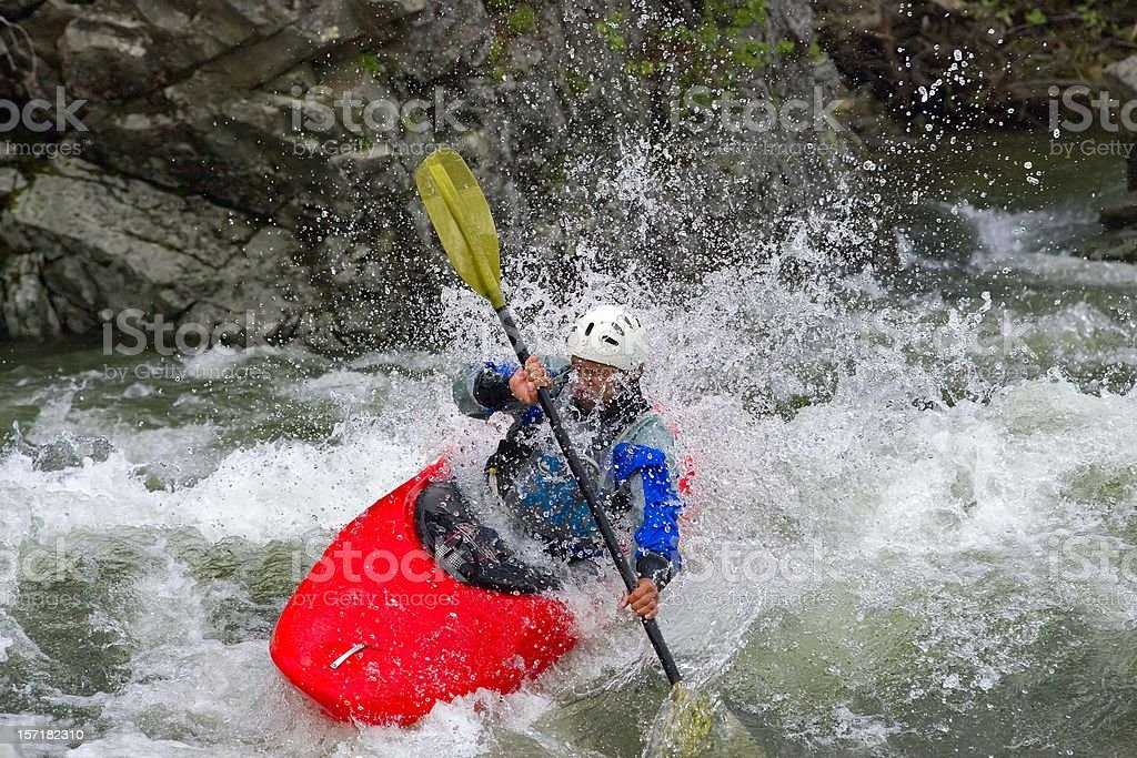 Kayaking.  Siberian River. Kazur. Kuznetsky Alatau. 02 royalty-free stock photo