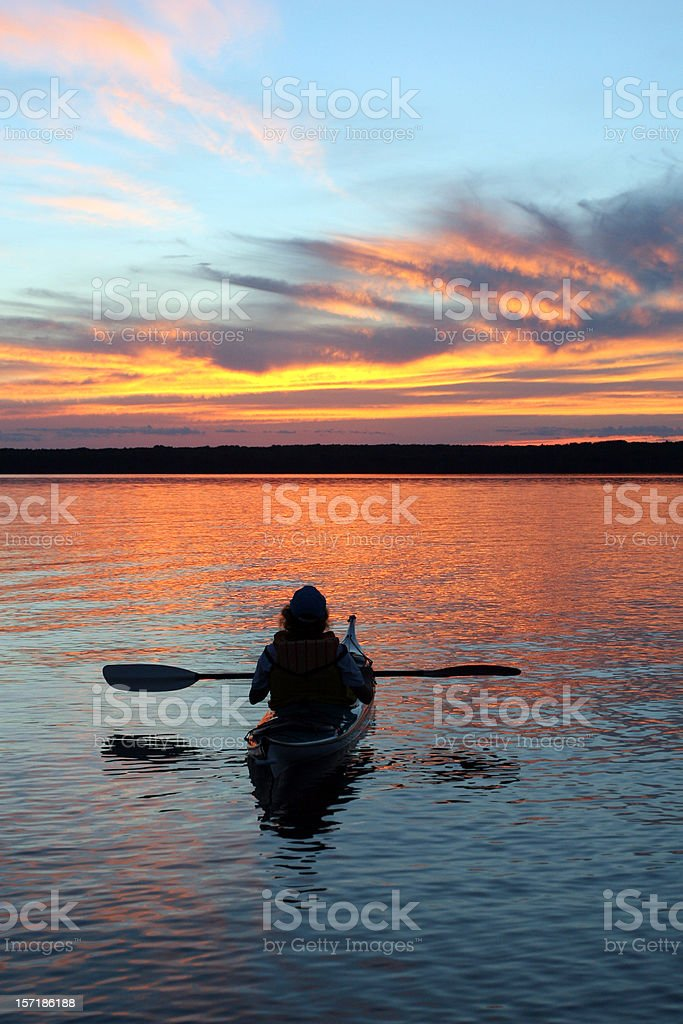Kayaking Sunset royalty-free stock photo