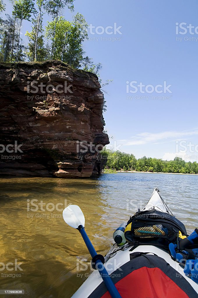 kayaking the Apostle Islands sea caves royalty-free stock photo