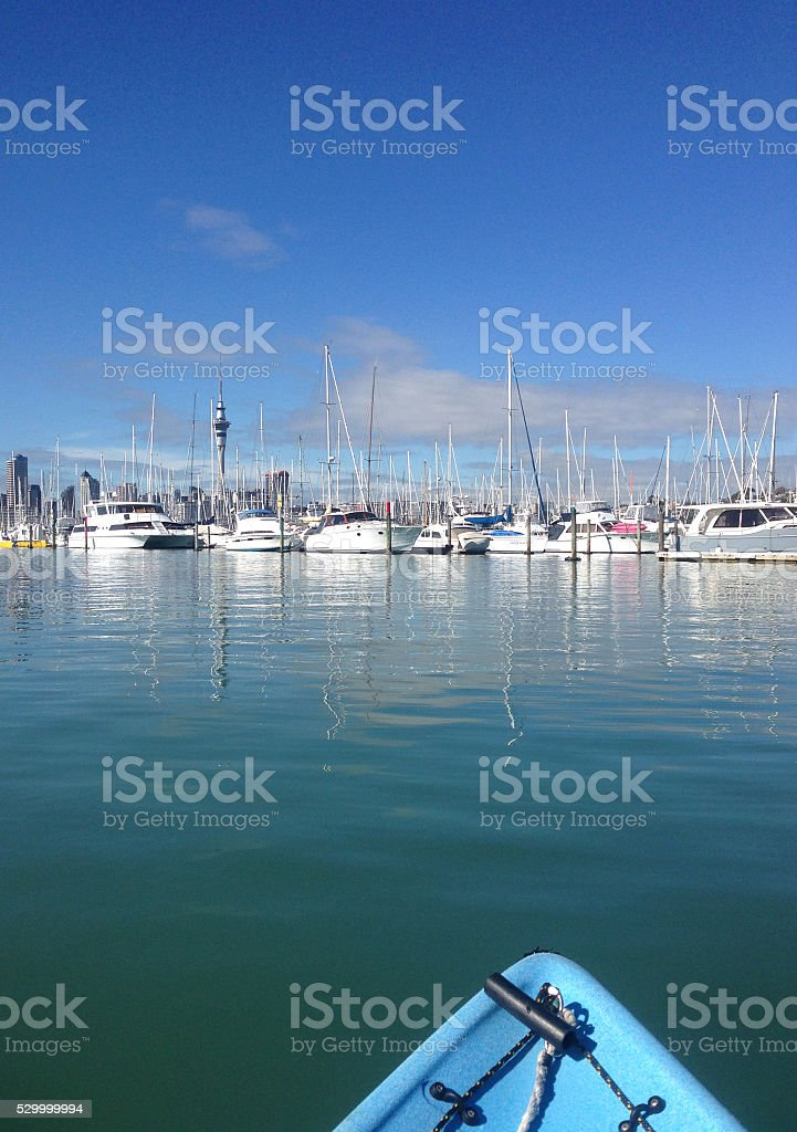 Kayaking towards Westhaven Marina and the Auckland CBD stock photo