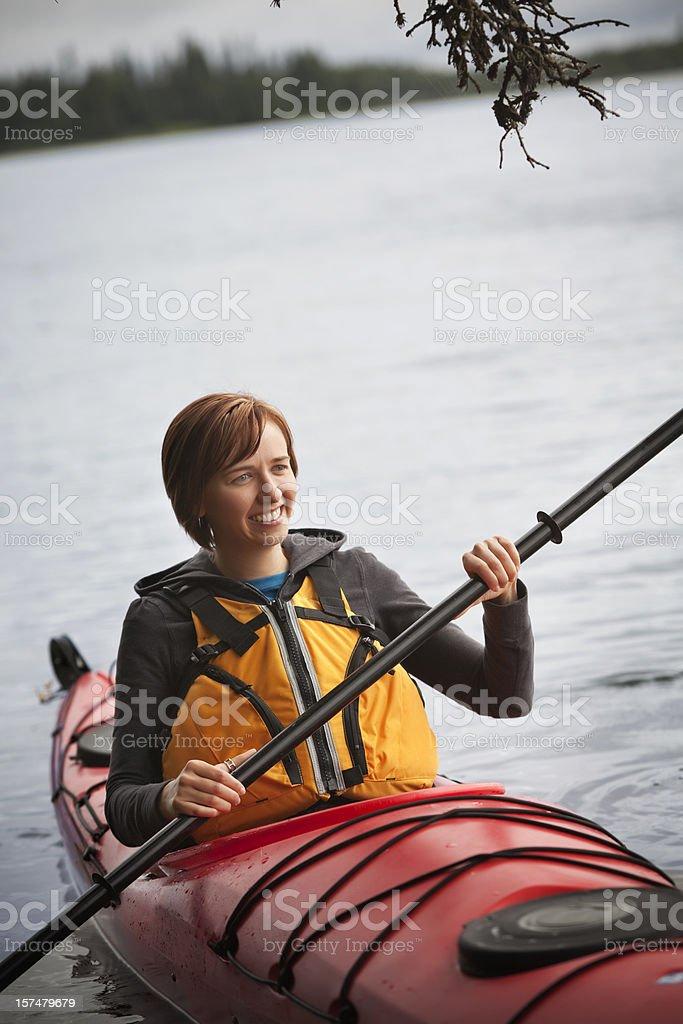Kayaking woman royalty-free stock photo