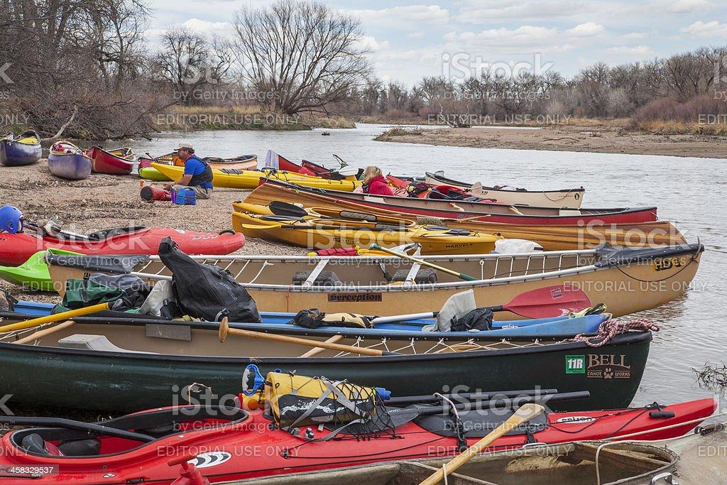 Kayaks and canoes stock photo