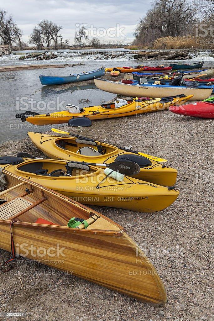 Kayaks and canoes royalty-free stock photo
