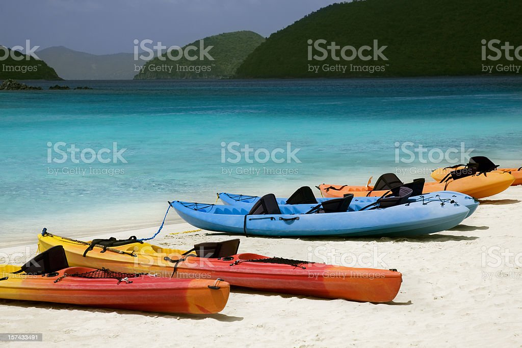 kayaks at Cinnamon Bay, St.John, US Virgin Islands royalty-free stock photo