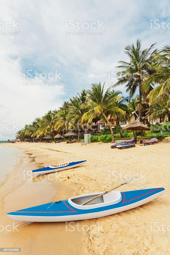 kayaks at the tropical beach stock photo