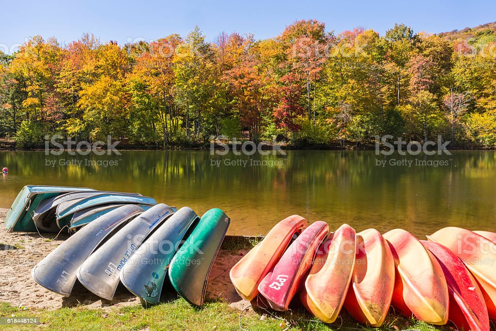 Kayaks, Canoes and Row Boats on Little Pond stock photo
