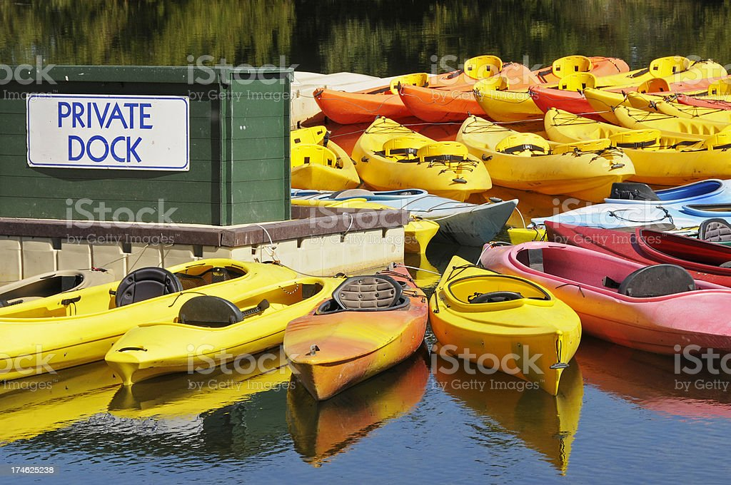 Kayaks for rent at marina royalty-free stock photo