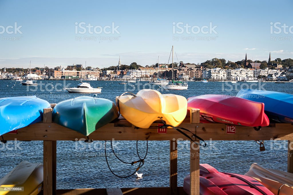 Kayaks for rent stock photo