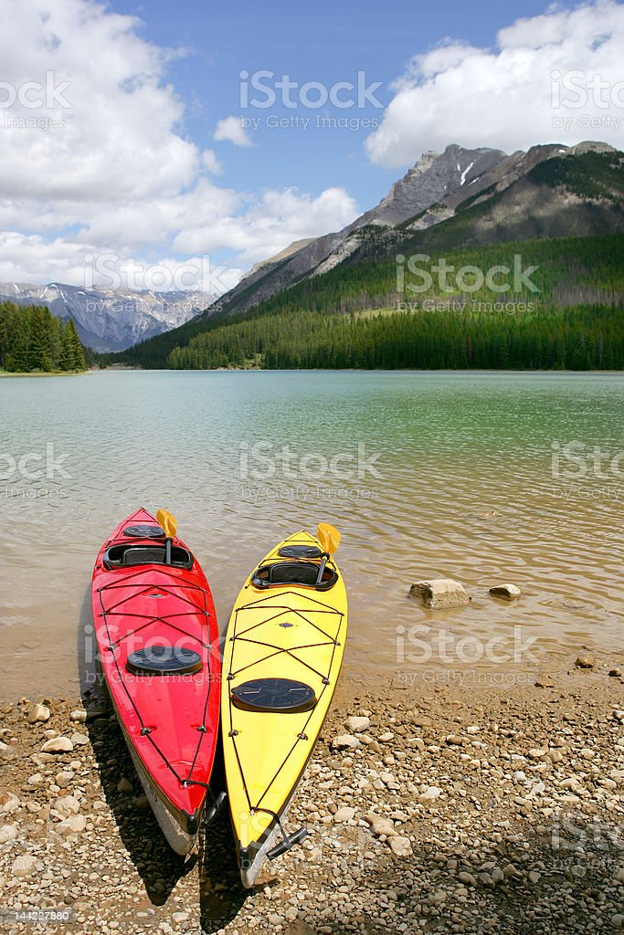 Kayaks in Banff royalty-free stock photo